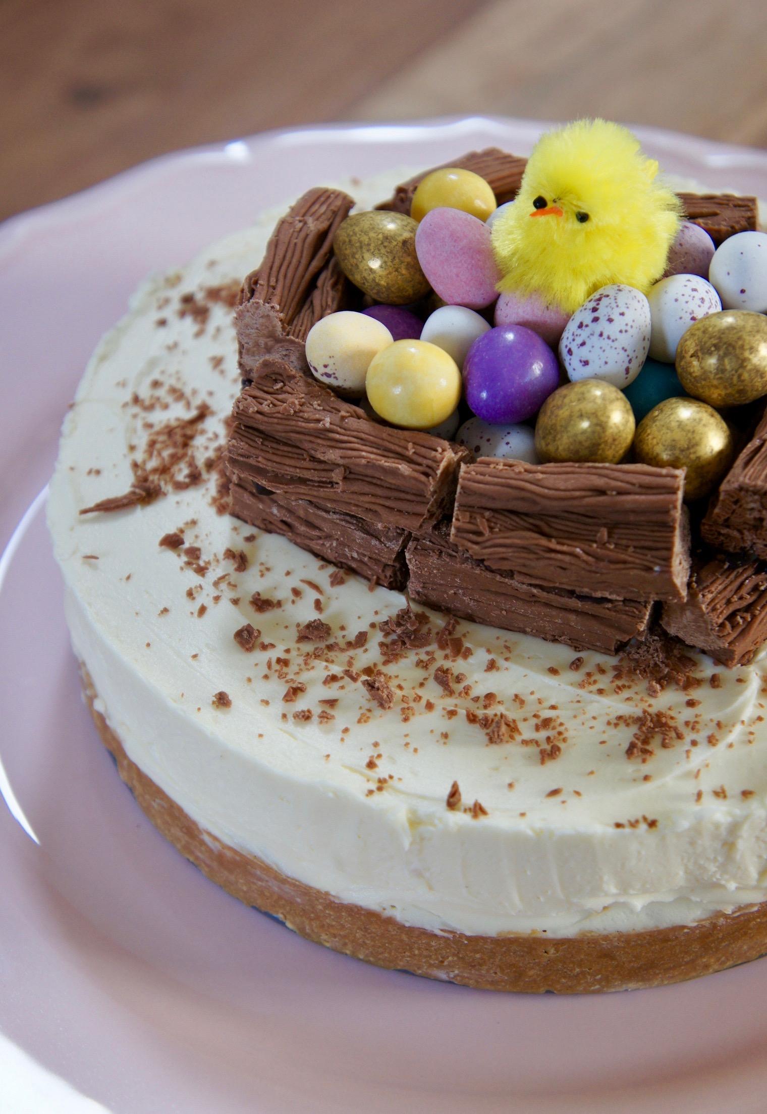White chocolate Easter cheesecake