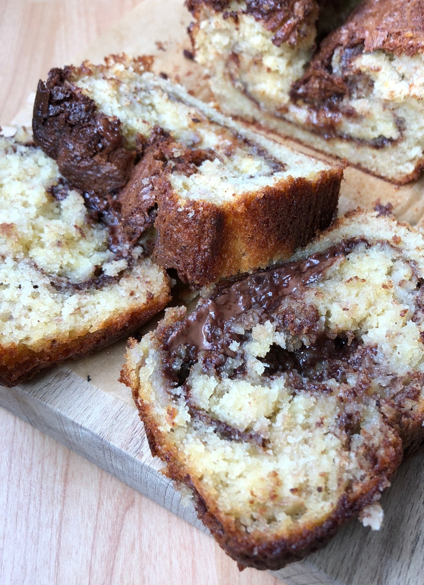 Banana & Nutella Swirl Loaf Cake